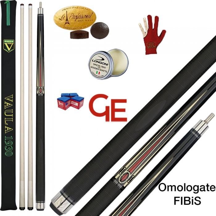 Stecca biliardo internazionale 5 birilli, Longoni Vaula Laser 1 basic, omologata FIBIS. Smont.le 2 pz. con 2 Punte in acero, cuoio diam. m.12,2, ricambi, accessori, e omaggio.