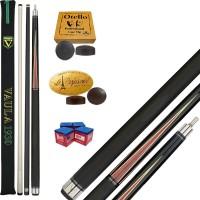 Stecca 5 birilli e 9 birilli-Goriziana biliardo internazionale Longoni Vaula Laser 2 Pro, Omologata FIBIS, con doppia punta, acero e fibra di carbonio, con ricambi e omaggio.