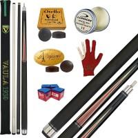 Stecca 5 birilli e 9 birilli-Goriziana biliardo internazionale Vaula Laser 2 Pro, Omologata FIBIS, con doppia punta, acero e fibra di carbonio, con ricambi, accessori d'uso e omaggio.