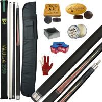 Stecca 5 birilli e 9 birilli-Goriziana biliardo internazionale Longoni Vaula Laser 2 Pro, Omologata FIBIS, con doppia punta, acero e fibra, con fodero Prince 1+2, ricambi, accessori d'uso e omaggio.