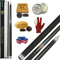 Stecca 5 birilli e 9 birilli-Goriziana biliardo internazionale Longoni Vaula Laser 3 Pro, Omologata FIBIS, con doppia punta, acero e fibra di carbonio, con ricambi, accessori d'uso e omaggio.