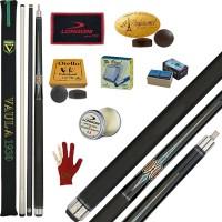 Stecca 5 birilli e 9 birilli-Goriziana biliardo internazionale Longoni Vaula Laser 3 Pro, doppia punta, acero e fibra di carbonio. Omologata tornei CONI FIBIS, con ricambi, accessori manutenzione stecca e omaggio.