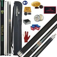 Stecca 5 birilli e 9 birilli-Goriziana biliardo internazionale Vaula Laser 3 Pro, Omologata FIBIS, con doppia punta, acero e fibra di carbonio, con fodero Longoni G 1+1, ricambi, accessori d'uso e omaggio.