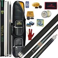 Stecca 5 birilli e 9 birilli-Goriziana biliardo internazionale Longoni Vaula Laser 3 Pro, doppia punta, acero e fibra di carbonio. Omologata CONI FIBIS, abbinata ad un fodero Renzline Simon 4+8, ricambi, accessori manutenzione stecca e omaggio.
