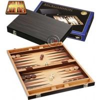Backgammon Chios a cassetta in legno di faggio. Dimensioni cassetta, chiusa mm.380x240x50, aperta  mm.380x480x25. Campo da gioco impiallacciato ebano e intarsi . Completo di accessori.
