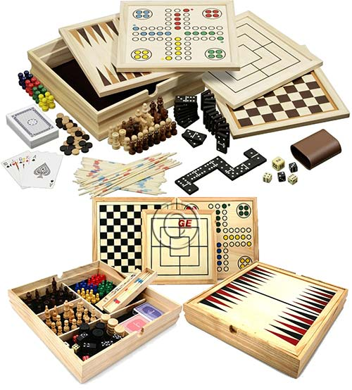 Philos Compendium 10 Medium scatola in legno di pino mm.300 x 300 x 60 contenente basi ed accessori per i classici giochi da tavolo.