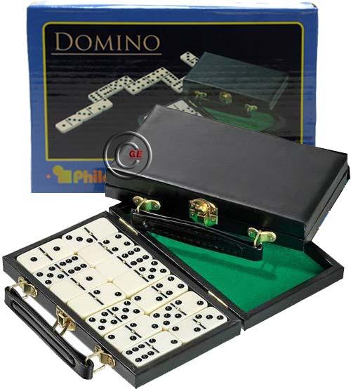 Philos Doppel 6 valigetta mm.190x120x35 in simil pelle con set di 28 tessere in plastica bianca per il gioco del Domino.