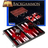 Backgammon a valigetta in legno. Dimensioni cassetta, chiusa mm. 380 x 235 x 55, aperta mm. 380 x 470x 26. Campo da gioco realizzato in similpelle e feltro. Completo di accessori.