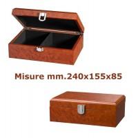 Scatola a cofanetto per scacchi in laminato legno simil radica, capacità set scacchi con Re h. massima mm.110. Dimensioni mm.240x155x85.