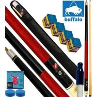 Buffalo Casinò Ball&Rose stecca biliardo pool, tutte le discipline. Stecca 2pz. cm.145, cuoio Ø mm.12, con fodero, ricambi e omaggio.