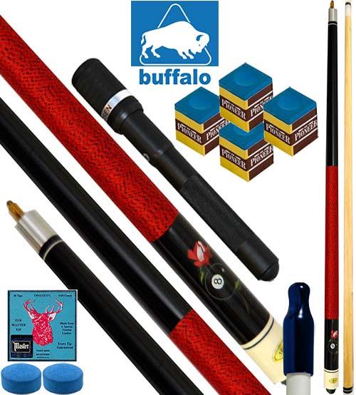 Buffalo Casinò Ball&Rose stecca biliardo pool, tutte le discipline. Stecca 2pz. cm.145, cuoio Ø mm.12. Prolunga, ricambi e omaggio.