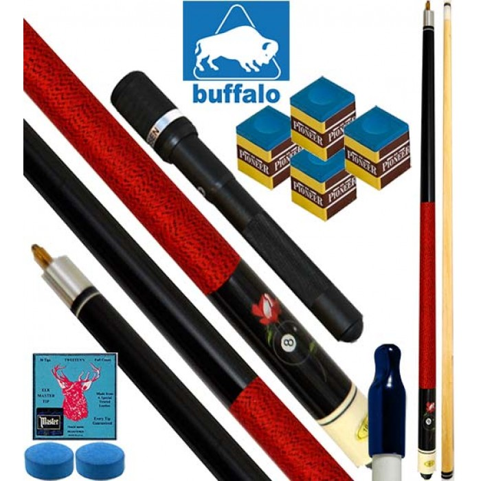 Buffalo Casinò Ball&Rose stecca biliardo pool, tutte le discipline. Stecca 2pz. cm.145, cuoio  mm.12. Prolunga, ricambi e omaggio.