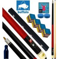 Buffalo Casinò Ball&Rose stecca biliardo pool, tutte le discipline. Stecca 2pz. cm.145, cuoio Ø mm.12, con valigetta porta stecca, ricambi e omaggio.