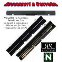 Stecca biliardo internazionale  5 birilli 9 birilli Goriziana, Longoni Vaula Laser 3 basic. Smont.le 2 pz. con puntale in acero, cuoio diam. m.12,2, ricambi, accessori e valigetta porta stecca R.L. Fire 1+1.