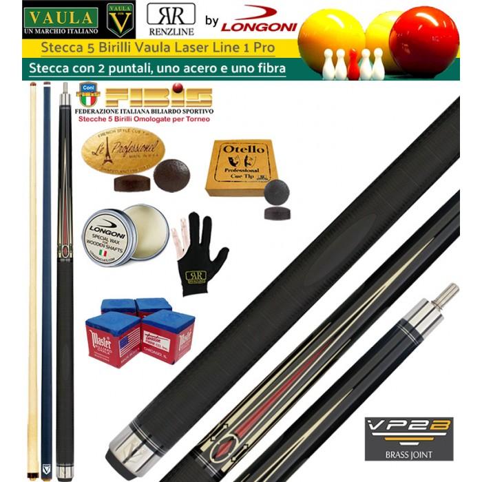 Stecca 5 birilli e 9 birilli-Goriziana biliardo internazionale Longoni Vaula Laser 1 Pro, Omologata FIBIS, con doppia punta, acero e fibra di carbonio, con ricambi, accessori d'uso e omaggio.