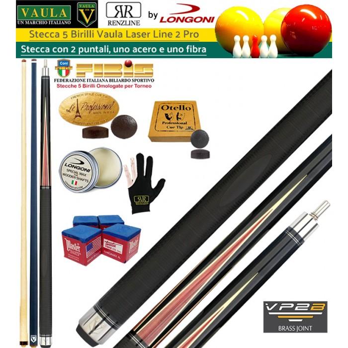 Stecca 5 birilli e 9 birilli-Goriziana biliardo internazionale Longoni Vaula Laser 2 Pro, Omologata FIBIS, con doppia punta, acero e fibra di carbonio, con ricambi, accessori d'uso e omaggio.