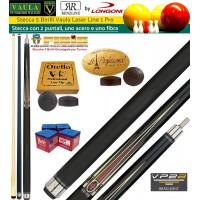 Stecca 5 birilli e 9 birilli-Goriziana biliardo internazionale Longoni Vaula Laser 1 Pro, Omologata FIBIS, con doppia punta, acero e fibra di carbonio, con ricambi e omaggio.
