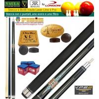 Stecca 5 birilli e 9 birilli-Goriziana biliardo internazionale Longoni Vaula Laser 3 Pro, Omologata FIBIS, con doppia punta, acero e fibra di carbonio, con ricambi e omaggio.