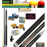 Stecca 5 birilli e 9 birilli-Goriziana biliardo internazionale Longoni Vaula Laser 1 Pro, doppia punta, acero e fibra di carbonio. Omologata tornei CONI FIBIS, con ricambi, accessori manutenzione stecca e omaggio.