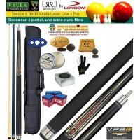 Stecca 5 birilli e 9 birilli-Goriziana biliardo internazionale Longoni Vaula Laser 1 Pro, Omologata FIBIS, con doppia punta, acero e fibra, con fodero Duke 1+2, ricambi, accessori d'uso e omaggio.