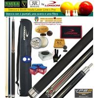 Stecca 5 birilli e 9 birilli-Goriziana biliardo internazionale Longoni Vaula Laser 1 Pro, Omologata FIBIS, con doppia punta, acero e fibra di carbonio, con fodero Longoni G 1+1, ricambi, accessori d'uso e omaggio.