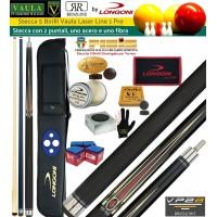Stecca 5 birilli e 9 birilli-Goriziana biliardo internazionale Longoni Vaula Laser 1 Pro, Omologata tornei CONI FIBIS, doppia punta, acero e fibra di carbonio, con fodero Longoni G-Lux 2+2, ricambi, accessori d'uso e omaggio.