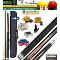 Stecca 5 birilli e 9 birilli-Goriziana biliardo internazionale Longoni Vaula Laser 2 Pro, Omologata FIBIS, con doppia punta, acero e fibra, con fodero Duke 1+2, ricambi, accessori d'uso e omaggio.