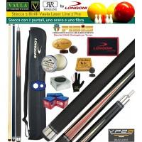 Stecca 5 birilli e 9 birilli-Goriziana biliardo internazionale Longoni Vaula Laser 2 Pro, Omologata FIBIS, con doppia punta, acero e fibra di carbonio, con fodero Longoni G 1+1, ricambi, accessori d'uso e omaggio.
