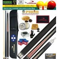 Stecca 5 birilli e 9 birilli-Goriziana biliardo internazionale Longoni Vaula Laser 2 Pro, Omologata tornei CONI FIBIS, doppia punta, acero e fibra di carbonio, con fodero Longoni G-Lux 2+2, ricambi, accessori d'uso e omaggio.