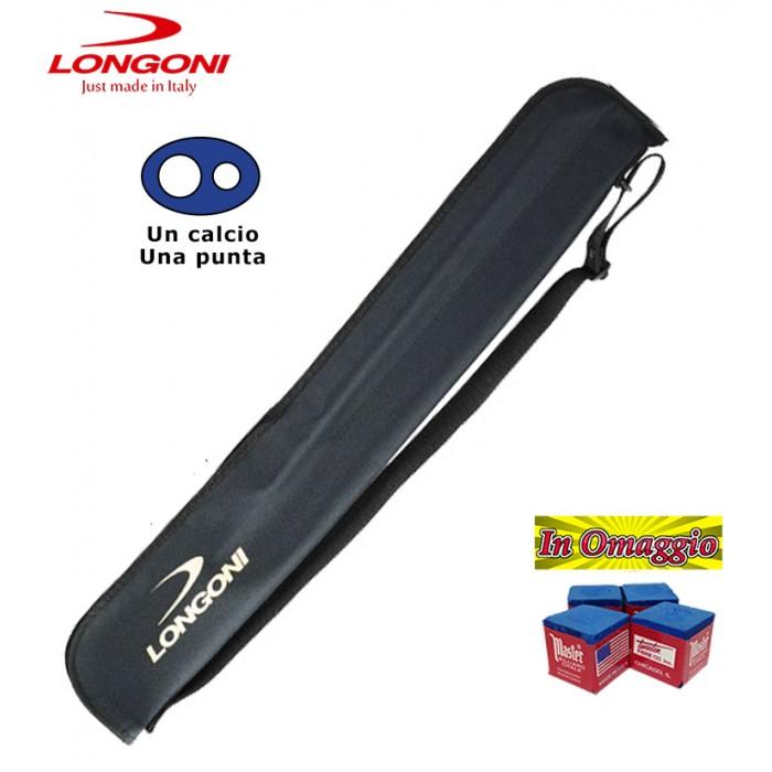 Custodia stecca biliardo Longoni G. Fodero logato Longoni con tracolla, capacità un calcio e una punta, tessuto impermeabile.