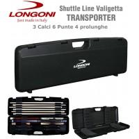 valigetta porta stecca in polypropilene Longoni Transporter colore nero, capacità: 3 calci, 6 punte, 4 prolunghe vano porta oggetti.