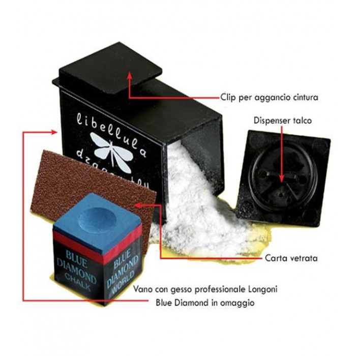 Libellula porta gesso biliardo da cintura con dispenser talco. Gesso Longoni Blue Diamond in omaggio.