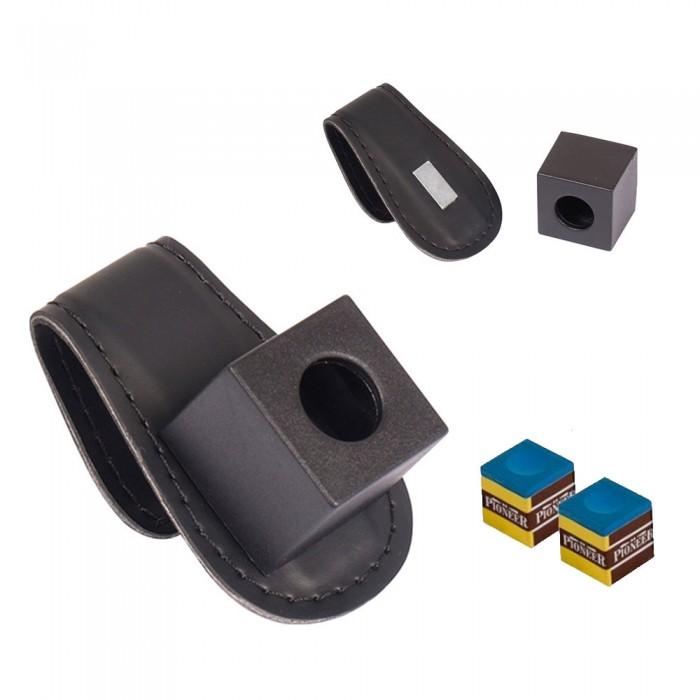 Buffalo De Luxe Porta gesso magnetico da cintura, in simil pelle nera.