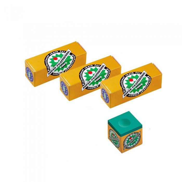 Super Professional tre confezioni di gesso verde per stecca biliardo.