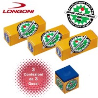 Longoni Nir Super Professional tre confezioni di gesso blu per stecca biliardo.