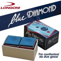 Gesso per stecca biliardo Longoni Blue Diamond World - Il miglior Gesso al Mondo - Tre confezioni da 2 pezzi.