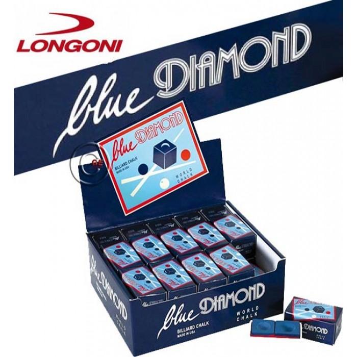 Gesso per stecca biliardo Longoni Blue Diamond World - Il miglior Gesso al Mondo - Scatola 25 confezioni da 2 pezzi.
