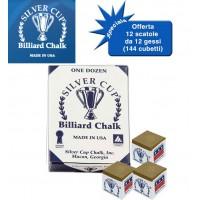 Silver Cup gesso marrone chiaro per stecca biliardo 12 scatole da 12 gessi (144 pz.)