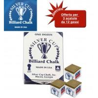 Silver Cup gesso per stecca biliardo marrone chiaro 3 scatole da 12 pezzi