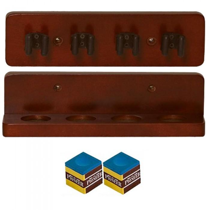 Biliardo porta stecche, Beta, a mensola da muro in legno color mogano per 4 stecche, composto da due parti, di facile montaggio. Prodotto entry level ideale per arricchire la vostra sala biliardo. Lunghezza: cm. 20, altezza cm. 5.5, peso gr.352.