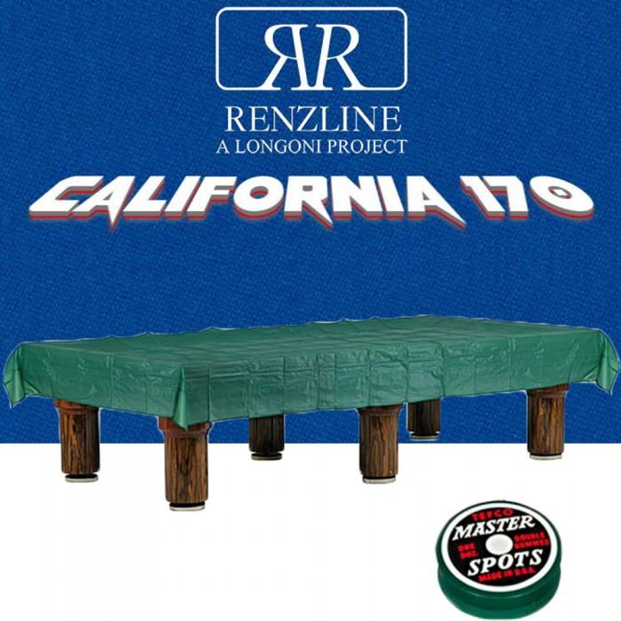 Panno biliardo pool Renzline California cm.340x170, blu per piano e sponde biliardo pool 9 piedi, con buche, campo da gioco cm.254x127, ardesia cm.272x145,con coperta per tavolo cm.300x200 e omaggio