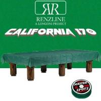 Panno biliardo pool Renzi Line by Longoni California cm.280x170, verde per piano e sponde biliardo pool 8 piedi, con buche, campo da gioco cm.224x112, ardesia cm.241x130,con coperta per tavolo cm.300x200 e omaggio