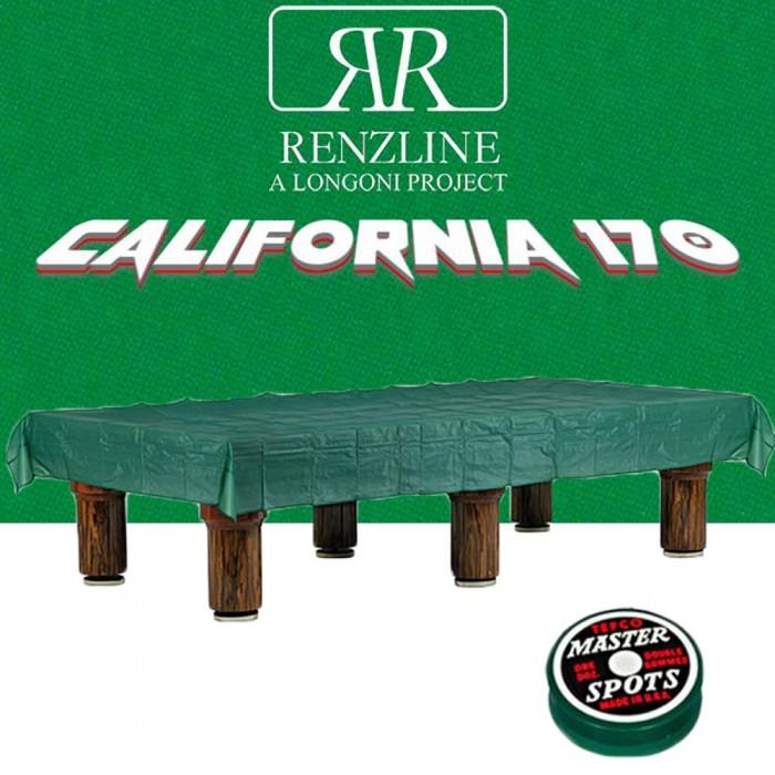 Panno biliardo pool Renzline California cm.280x170, verde per piano e sponde biliardo pool 8 piedi, con buche, campo da gioco cm.224x112, ardesia cm.241x130,con coperta per tavolo cm.300x200 e omaggio