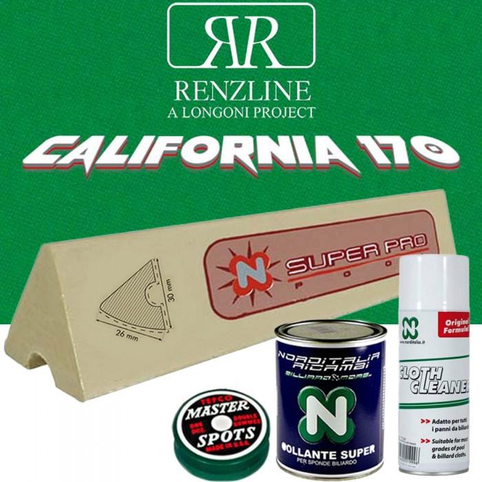 Panno biliardo pool Renzline (by Longoni) California verde cm.260x170, copertura piano e sponde tavolo 7 piedi, campo gioco cm.200x100, ardesia cm.222x120, con set 6 gomme per sponde Super Pro cm.96, colla per sponde, smacchiatore panno e omaggi