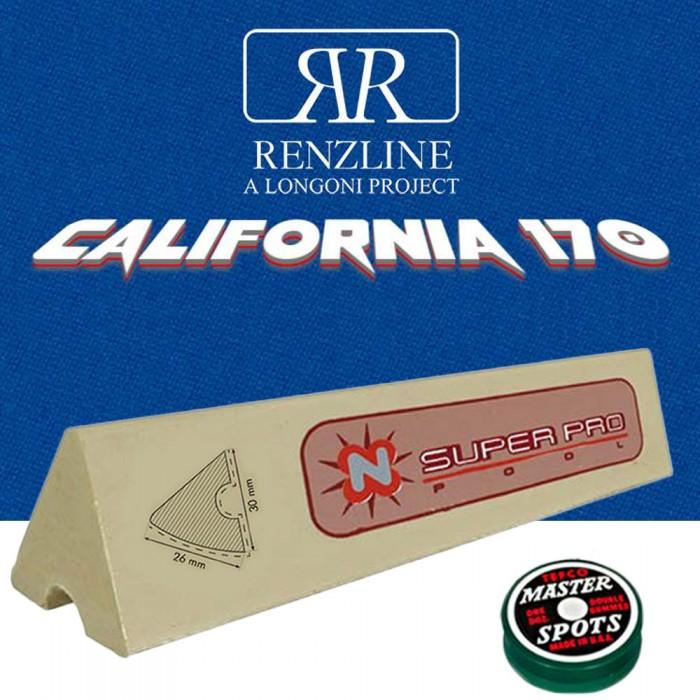 Panno biliardo pool Renzline (by longoni) california blu cm.260x170, copertura piano e sponde tavolo, 7 piedi. Misure biliardo: campo gioco cm.200x100, ardesia cm.222x120, con set di 6 gomme per sponde Super Pro profilo K66 cm.96 ed omaggio.