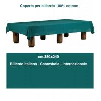 Biliardo Coperta in tessuto 100% cotone verde orlata. Tavoli biliardo da italiana, internazionale, carambola cm. 380x240