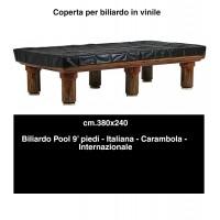 Biliardo Coperta impermeabile in vinile marrone orlata. Tavoli biliardo da italiana, internazionale, carambola cm. 380x240