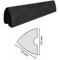 Biliardo gomma nera triangolare mm.14 per sponde biliardi piccole dimensioni vendita metraggio prezzo per un metro