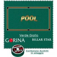 Gorina Billar Star panno per biliardo con buche disciplina Pool. Taglio mt. 3,4x1,8 copertura piano e sponde tavolo Pool 9, campo da gioco cm.254x127, ardesia cm. 272x145, con omaggio.