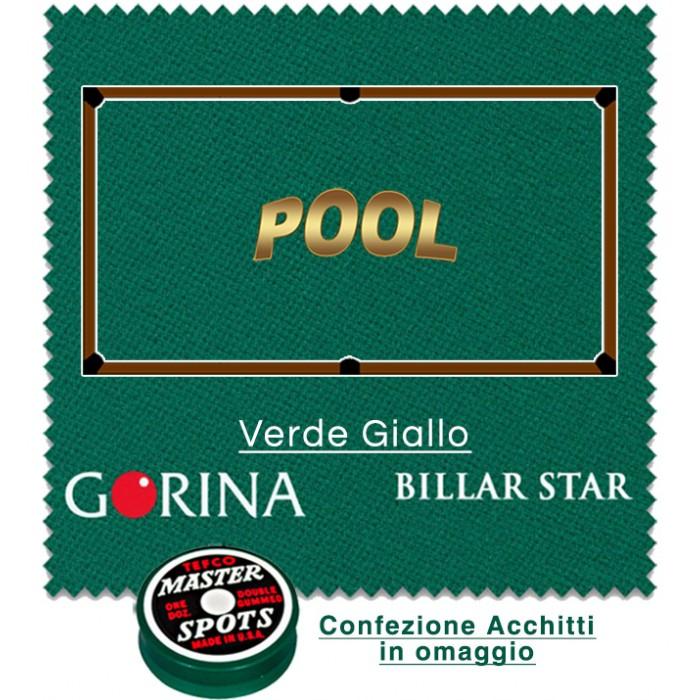 Gorina Billar Star panno per biliardo con buche disciplina Pool. Taglio mt. 2,8x1,8 copertura piano e sponde tavolo Pool 8, campo da gioco cm.224x112, ardesia cm. 241x130, con omaggio.